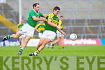 Brian Costello contests with Limerick's Tom Mulcahy in the Munster Junior Championship Semi final held in the Gaelic Grounds last Saturday.