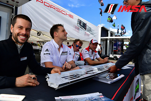 1-3 July, 2016, Watkins Glen, NewYork USA<br /> 912, Porsche, 911 RSR, GTLM, Earl Bamber, Frederic Makowiecki, 911, Porsche, 911 RSR, GTLM, Nick Tandy, Patrick Pilet at the fan autograph session.<br /> &copy;2016, Richard Dole<br /> LAT Photo USA
