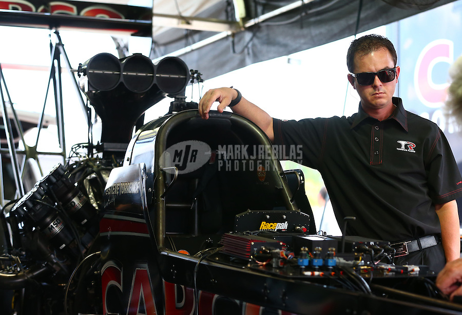May 31, 2013; Englishtown, NJ, USA: NHRA top fuel dragster driver Steve Torrence during qualifying for the Summer Nationals at Raceway Park. Mandatory Credit: Mark J. Rebilas-