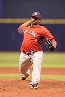 Boston Red Sox pitcher German Taveras (77) during an Instructional League game against the Tampa Bay Rays on September 25, 2014 at Tropicana Field in St. Petersburg, Florida.  (Mike Janes/Four Seam Images)