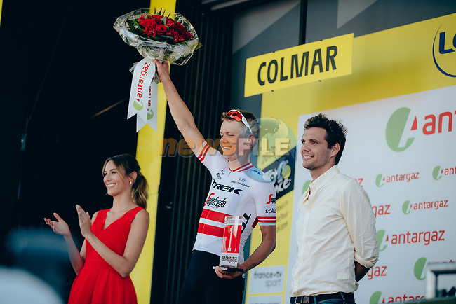 Latvian Champion Toms Skujins (LAT) Trek-Segafredo wins the day's combativity prize at the end of Stage 5 of the 2019 Tour de France running 175.5km from Saint-Die-des-Vosges to Colmar, France. 10th July 2019.<br /> Picture: ASO/Thomas Maheux   Cyclefile<br /> All photos usage must carry mandatory copyright credit (© Cyclefile   ASO/Thomas Maheux)