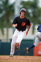 GCL Orioles shortstop Ryan Mountcastle (43) running the bases during the second game of a doubleheader against the GCL Rays on August 1, 2015 at the Ed Smith Stadium in Sarasota, Florida.  GCL Orioles defeated the GCL Rays 11-4.  (Mike Janes/Four Seam Images)