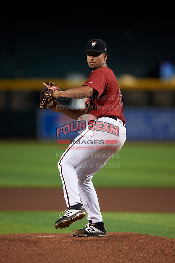 AZL D-backs starting pitcher Brennan Malone (41) pitches during his professional debut in an Arizona League game against the AZL Giants Black on July 28, 2019 at Chase Field in Phoenix, Arizona. AZL Giants Orange defeated AZL D-backs 6-4. (Zachary Lucy/Four Seam Images)