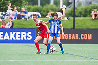 Boston, MA - Saturday July 01, 2017: Havana Solaun and Brooke Elby during a regular season National Women's Soccer League (NWSL) match between the Boston Breakers and the Washington Spirit at Jordan Field.