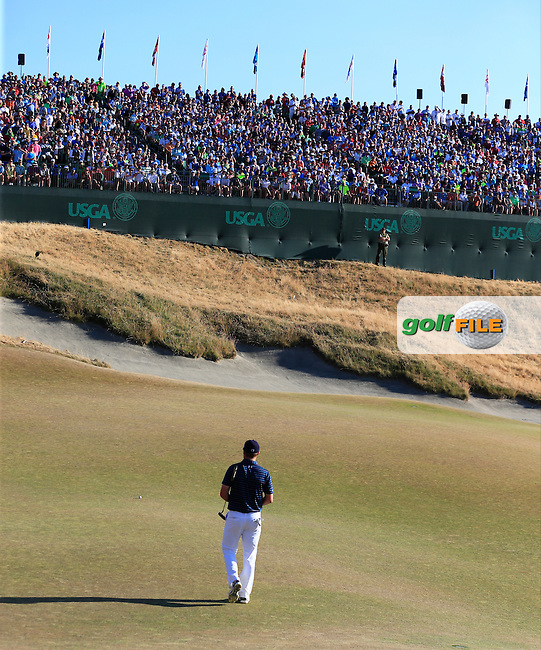 Jordan Speith (USA) on the 18th green during Sunday's Final Round of the 2015 U.S. Open 115th National Championship held at Chambers Bay, Seattle, Washington, USA. 6/22/2015.<br /> Picture: Golffile | Eoin Clarke<br /> <br /> <br /> <br /> <br /> All photo usage must carry mandatory copyright credit (&copy; Golffile | Eoin Clarke)