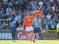 Blackpool's Paudie O'Connor heads clear<br /> <br /> Photographer Kevin Barnes/CameraSport<br /> <br /> The EFL Sky Bet League One - Wycombe Wanderers v Blackpool - Saturday 4th August 2018 - Adams Park - Wycombe<br /> <br /> World Copyright &copy; 2018 CameraSport. All rights reserved. 43 Linden Ave. Countesthorpe. Leicester. England. LE8 5PG - Tel: +44 (0) 116 277 4147 - admin@camerasport.com - www.camerasport.com