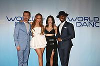 "LOS ANGELES - JAN 30:  Derek Hough, Jennifer Lopez, Jenna Dewan Tatum, Ne-Yo at the ""World of Dance"" Season 2 Photocall at the Universal Studios Stage 22 on January 30, 2018 in Universal City, CA"