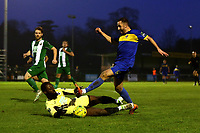 Connor Hammond of Romford is denied during Romford vs Basildon United, Bostik League Division 1 North Football at Rookery Hill on 24th November 2018