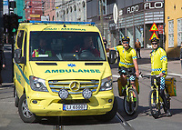 Paramedics on bicycle in Oslo during May day parade