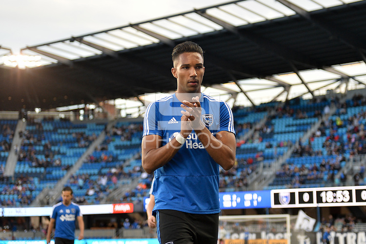 San Jose, CA - Saturday April 14, 2018: Danny Hoesen prior to a Major League Soccer (MLS) match between the San Jose Earthquakes and the Houston Dynamo at Avaya Stadium.