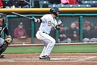 Matt Long (15) of the Salt Lake Bees at bat against the Sacramento River Cats at Smith's Ballpark on April 3, 2014 in Salt Lake City, Utah.  (Stephen Smith/Four Seam Images)