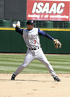April 10, 2004:  /ss/ Russ Adams (3) of the Syracuse Sky Chiefs, Class-AAA International League affiliate of the Toronto Blue Jays, during a game at Frontier Field in Rochester, NY.  Photo by:  Mike Janes/Four Seam Images