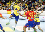 Spain's Sanchez Migallon Naranjo (r) and Bosnia Herzegovina's Nikola Prce during 2018 Men's European Championship Qualification 2 match. November 2,2016. (ALTERPHOTOS/Acero)