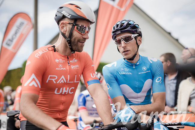 former teammates at Mitchelton-Scott; peloton senior (by a mile!) Svein Tuft (CAN/Rally-UHC) & Carlos Verona (ESP/Movistar) at the race start in Ans<br /> <br /> 83rd La Flèche Wallonne 2019 (1.UWT)<br /> One day race from Ans to Mur de Huy (BEL/195km)<br /> <br /> ©kramon