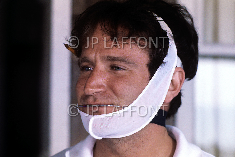 New York, USA. December 1981. From the american comedy drama film, The World According to Garp,  directed by George Roy Hill, based on the novel of the same title by John Irving. Photo of Robin Williams the main actor.
