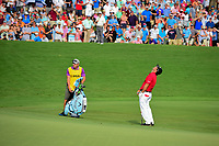 Patrick Reed (USA) reacts to leaving his chip shot very short on 18 during Sunday's final round of the PGA Championship at the Quail Hollow Club in Charlotte, North Carolina. 8/13/2017.<br /> Picture: Golffile | Ken Murray<br /> <br /> <br /> All photo usage must carry mandatory copyright credit (&copy; Golffile | Ken Murray)