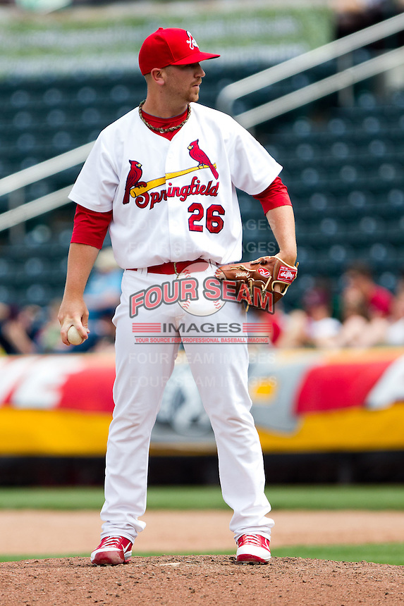 Matthew Frevert (26) of the Springfield Cardinals on the mound during a game against the Midland RockHounds on April 19, 2011 at Hammons Field in Springfield, Missouri.  Photo By David Welker/Four Seam Images