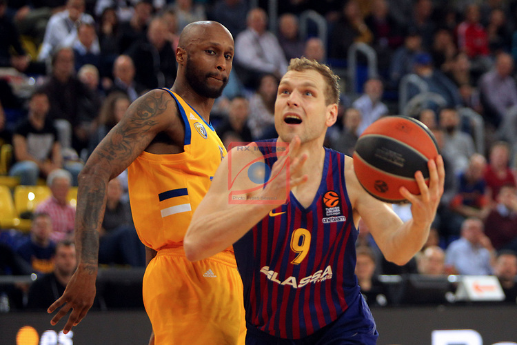Turkish Airlines Euroleague 2018/2019. <br /> Regular Season-Round 30.<br /> FC Barcelona Lassa vs Khimki Moscow Region: 83-74. <br /> Tony Crocker vs Jaka Blazic.