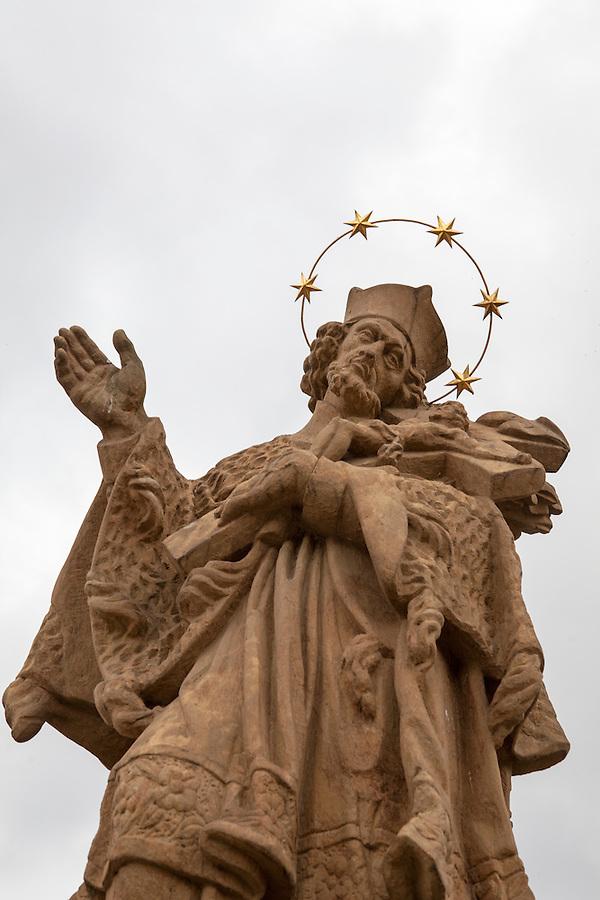 Religious statues on Old Bridge, the oldest bridge in the Czech Republic, the town of Písek, Czech Republic, Europe
