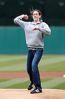 Syracuse Chiefs had prep basketball star Breanna Stewart, who has committed to UConn, throw out the first pitch before the opening game of the International League season against the Rochester Red Wings at Alliance Bank Stadium on April 5, 2012 in Syracuse, New York.  Rochester defeated Syracuse 7-4.  (Mike Janes/Four Seam Images)