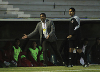 TUNJA - COLOMBIA -01-02-2015: Harold Rivera, técnico de Patriotas FC, durante  partido Patriotas FC y Atletico Huila,  por la fecha 1 de la Liga de Aguila I 2015 en el estadio La Independencia en la ciudad de Tunja / Harold Rivera,  coach of Patriotas FC, during a match Patriotas FC and Atletico Huila for date 1 of the Liga de Aguila I 2015 at La Independencia stadium in Tunja city. Photo: VizzorImage  /  Cesar Melgarejo / Str.