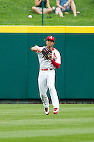 Thomas Pham (4) of the Springfield Cardinals throws a ball back to the infield during a game against the Arkansas Travelers on May 10, 2011 at Hammons Field in Springfield, Missouri.  Photo By David Welker/Four Seam Images.