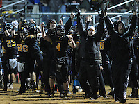 NWA Democrat-Gazette/ANDY SHUPE<br /> Prairie Grove coaches and players signal a touchdown that was later ruled an incomplete pass against Star City Friday, Nov. 27, 2015, at the close of the first half of play at Tiger Stadium in Prairie Grove. Visit nwadg.com/photos to see more photographs from the game.