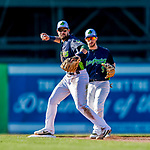16 July 2017: Vermont Lake Monsters infielder Javier Godard turns a double-play to end the 4th inning against the Auburn Doubledays at Centennial Field in Burlington, Vermont. The Monsters defeated the Doubledays 6-3 in NY Penn League action. Mandatory Credit: Ed Wolfstein Photo *** RAW (NEF) Image File Available ***