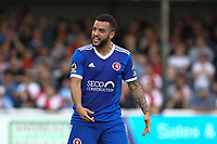 Jordan Gibbons of Welling United protests to the fourth official during Woking vs Welling United, Vanarama National League South Promotion Play-Off Final Football at The Laithwaite Community Stadium on 12th May 2019
