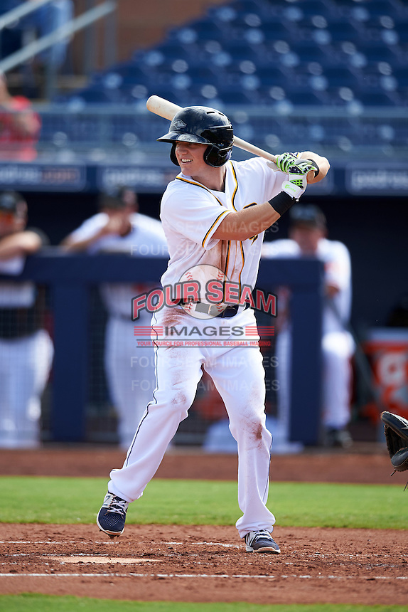 Peoria Javelinas Josh VanMeter (4), of the San Diego Padres organization, during a game against the Surprise Saguaros on October 12, 2016 at Peoria Stadium in Peoria, Arizona.  The game ended in a 7-7 tie after eleven innings.  (Mike Janes/Four Seam Images)