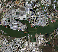 aerial photo map of the Houston shipping channel Port Houston, Texas