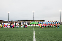 Allston, MA - Saturday, May 07, 2016: Starting lineups of the Boston Breakers and Chicago Red Stars during a regular season National Women's Soccer League (NWSL) match at Jordan Field.