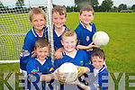 FUN TIME: Young football stars from Currow enjoying the Kerry GAA VHI Cul Camp in Currow on Friday last..Front L/r. Thomas Barrett, Jack Scanlon, William Brosnan..Back L/r. Padraig Broderick, Owen McMahon and Jonathan O' Rourke...   Copyright Kerry's Eye 2008
