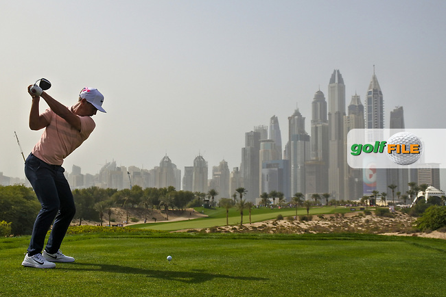 Thorbjorn Olesen (DEN) on the 8th during Round 2 of the Omega Dubai Desert Classic, Emirates Golf Club, Dubai,  United Arab Emirates. 25/01/2019<br /> Picture: Golffile | Thos Caffrey<br /> <br /> <br /> All photo usage must carry mandatory copyright credit (&copy; Golffile | Thos Caffrey)
