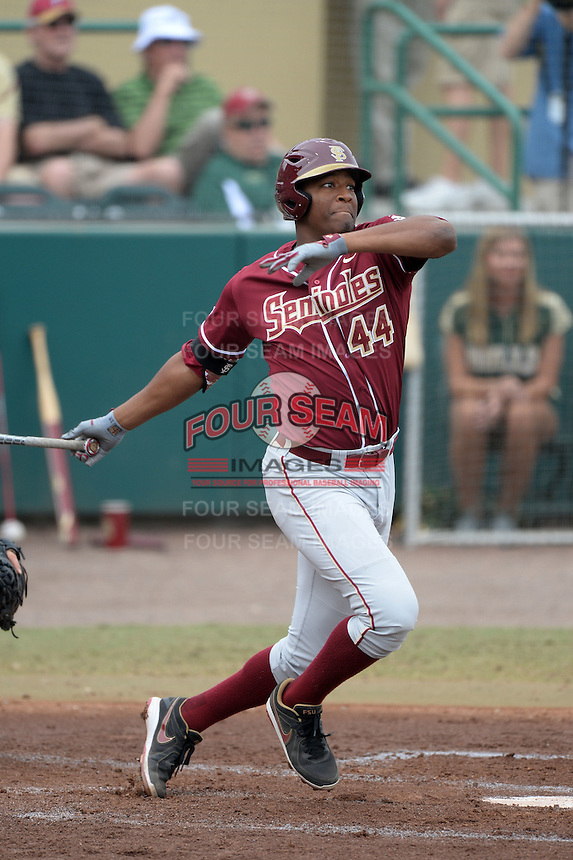 Florida State Seminoles designated hitter / relief pitcher Jameis Winston (44) hits a double during a game against the South Florida Bulls on March 5, 2014 at Red McEwen Field in Tampa, Florida.  Florida State defeated South Florida 4-1.  (Mike Janes/Four Seam Images)