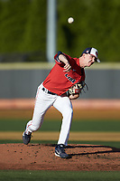 Liberty Flames starting pitcher Mason Hand (25) delivers a pitch to the plate against the Wake Forest Demon Deacons at David F. Couch Ballpark on April 25, 2018 in  Winston-Salem, North Carolina.  The Demon Deacons defeated the Flames 8-7.  (Brian Westerholt/Four Seam Images)
