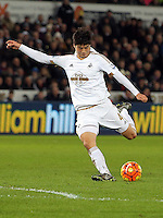Ki Sung Yueng during the Barclays Premier League match between Swansea City and Watford at the Liberty Stadium, Swansea on January 18 2016