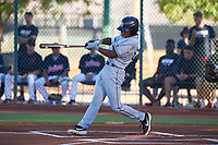 AZL Padres 1 CJ Abrams (8) at bat during an Arizona League game against the AZL Indians Red on June 23, 2019 at the Cleveland Indians Training Complex in Goodyear, Arizona. AZL Indians Red defeated the AZL Padres 1 3-2. (Zachary Lucy/Four Seam Images)