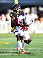 Baltimore, MD - OCT 14, 2017: Towson Tigers cornerback Tyron McDade (14) tackles Richmond Spiders wide receiver Dejon Brissett (18) during game between Towson and Richmond at Johnny Unitas Stadium in Baltimore, MD. The Spiders defeated the Tigers 23-3. (Photo by Phil Peters/Media Images International)