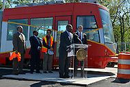 May 1, 2013  (Washington, DC)  DDOT Director Terry Bellamy speaks about the District's new streetcars during a news conference at the DDOT Anacostia facility May 1, 2013, as D.C. Mayor Vincent Gray (r) and other officials listen.  (Photo by Don Baxter/Media Images International)