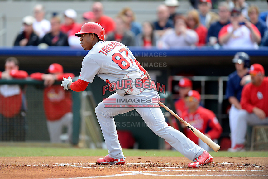 St. Louis Cardinals outfielder Oscar Taveras #87 during a Spring Training game against the Houston Astros at Osceola County Stadium on March 1, 2013 in Kissimmee, Florida.  The game ended in a tie at 8-8.  (Mike Janes/Four Seam Images)