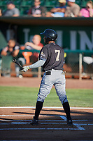 Cesar Garcia (7) of the Missoula Osprey bats against the Ogden Raptors at Lindquist Field on July 12, 2018 in Ogden, Utah. Missoula defeated Ogden 11-4. (Stephen Smith/Four Seam Images)