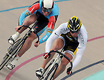August 20, 2011: USA's London Project cyclist, Michael Blatchford takes the lead on Australia's Peter Lewis during the Men's Sprint Finals at the Winslow BMW U.S. Grand Prix of Sprinting at the 7-Eleven Velodrome, Colorado Springs, CO... ...