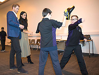 01 December 2017 - Prince Harry and Meghan Markle watch a Kick Boxing presentation at the Nottingham Academy school in Nottingham, Nottinghamshire where they met head teachers, pupils, staff and mentors involved in the Full Effect programme. The couple took part in their first official visit together, choosing to raise awareness of HIV/AIDS with a visit to a youth project in Nottingham, Nottinghamshire. Photo Credit: ALPR/AdMedia