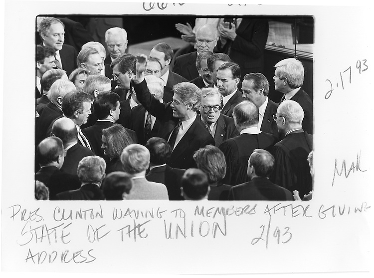 President Bill Clinton greets members of Congress after his 1993 Sate of the Union Address.