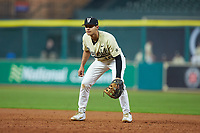 Austin Martin (16) of the Vanderbilt Commodores on defense against the Houston Cougars during game nine of the 2018 Shriners Hospitals for Children College Classic at Minute Maid Park on March 3, 2018 in Houston, Texas. The Commodores defeated the Cougars 9-4. (Brian Westerholt/Four Seam Images)