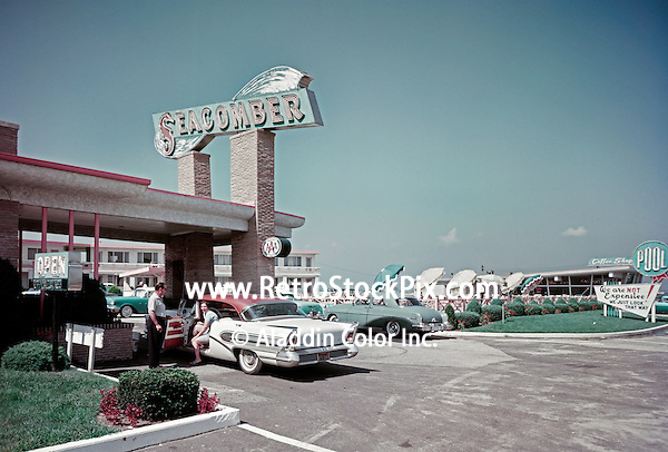Seacomber Motel, Atlantic City, New Jersey, Entrance with Large Neon Sign
