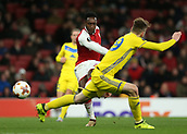 7th December 2017, Emirates Stadium, London, England; UEFA Europa League football, Arsenal versus BATE Borisov; Danny Welbeck of Arsenal takes a shot for attempted goal passed Nemanja Milunovic of BATE Borisov