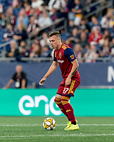 FOXBOROUGH, MA - SEPTEMBER 21: Corey Baird #17 of Real Salt Lake looks to pass during a game between Real Salt Lake and New England Revolution at Gillette Stadium on September 21, 2019 in Foxborough, Massachusetts.