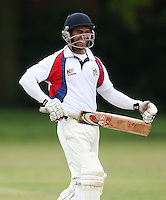 Sam Samarasekera of Hornchurch Athletic - Hornchurch Athletic CC vs Galleywood CC, Essex Club Cricket at Hylands Park, Hornchurch - 18/05/13 - MANDATORY CREDIT: Rob Newell/TGSPHOTO - Self billing applies where appropriate - 0845 094 6026 - contact@tgsphoto.co.uk - NO UNPAID USE
